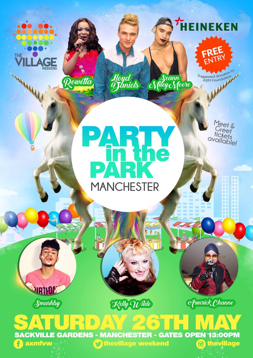 Saturday 26th May  20 Artists including.... @Rowetta @seannmileymoore @LloydDUpdates @smashbyofficial @KELLYWILDE @AmrickChanna  Free Entry LTD M&amp;G Tickets Available #Party #Pride #Manchester #Charity <br>http://pic.twitter.com/wqnYjeW3Lb