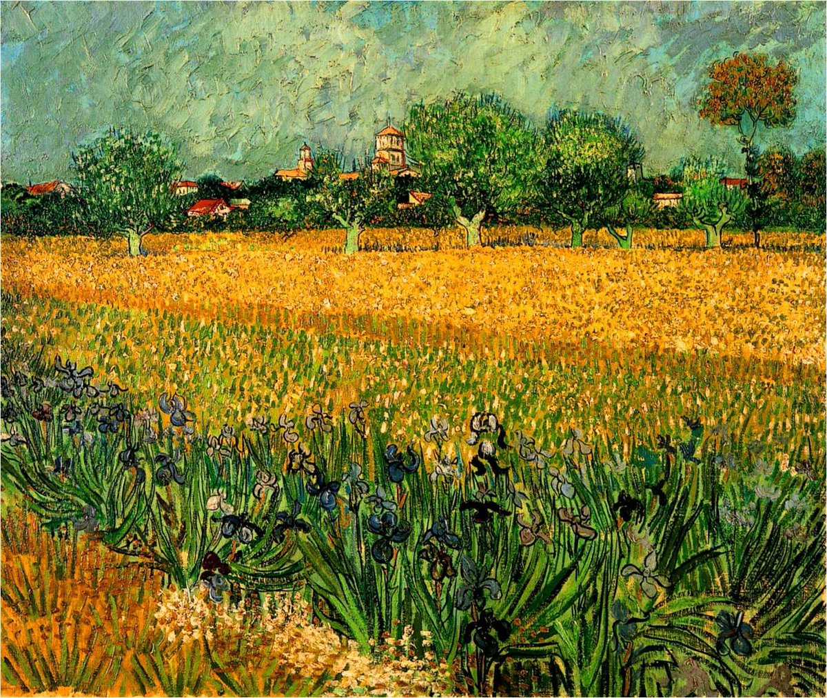 VAN GOGH, &quot;VIEW OF ARLES WITH IRISES IN THE FOREGROUND&quot; 1888 #vangogh #art #arttwit #twitart #iloveart #Arles #artlover <br>http://pic.twitter.com/pDuizplGdX
