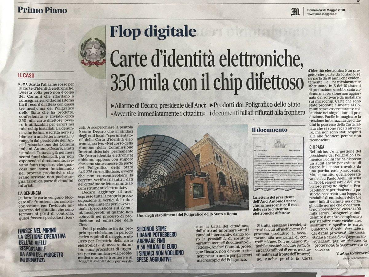 E comunque, l'eterna ITA pubblica è così: Poligrafico manda ai Comuni 350 mila carte identità elettroniche col chip scassato...