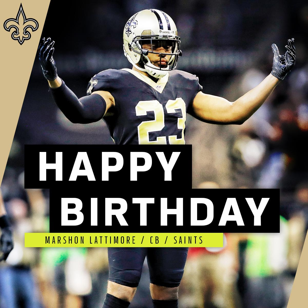 The 2017 Defensive Rookie of the Year. Join us in wishing Marshon Lattimore (@shonrp2) a HAPPY BIRTHDAY! 🎉