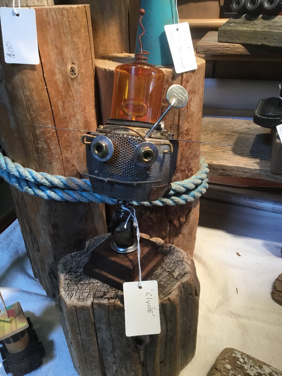 """This is """"Clyde"""" at @plunger_cove, at @granville_island .  #granvilleisland #market #vintage #gifts #steampunk #salvaged #reclaimed #reclaimedwood #handmade #gifts #birthdays #custom #tugboats #artisan"""