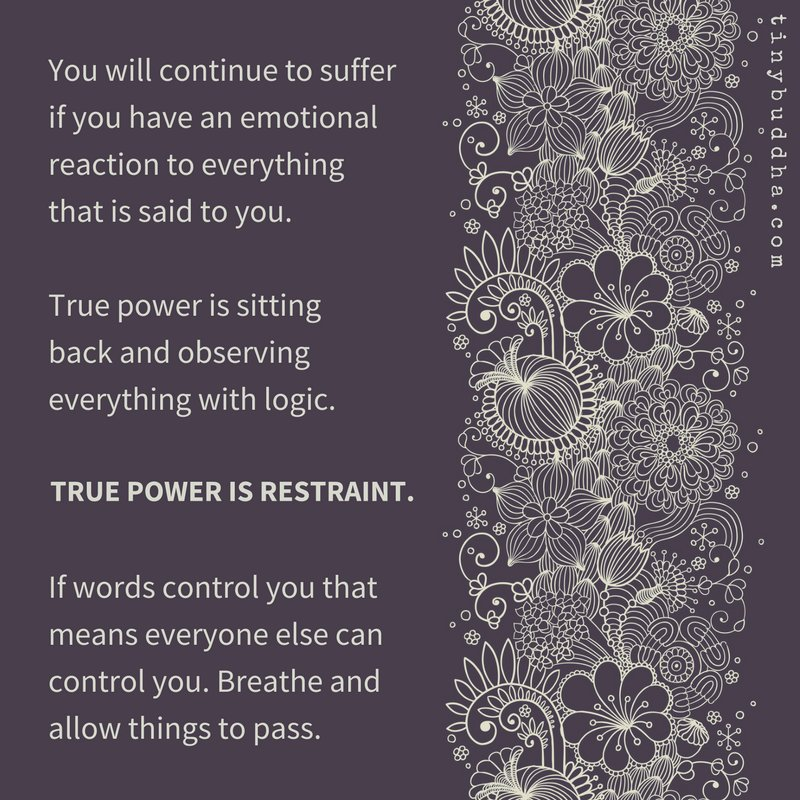 You will continue to suffer if you have an emotional reaction to everything that is said to you. True power is sitting back and observing things with logic. True power is restraint. If words control you that means everyone else can control you. Breathe and allow things to pass.