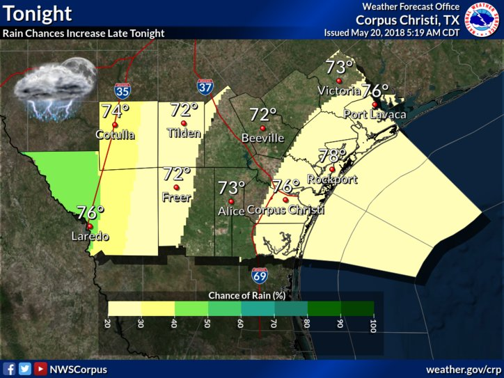 Isolated showers will stream north out of the gulf into the Coastal Bend late tonight. At the same time, another weather system moving in from the west will fire-off isolated to scattered showers and thunderstorms across the Brush Country. #stxwx