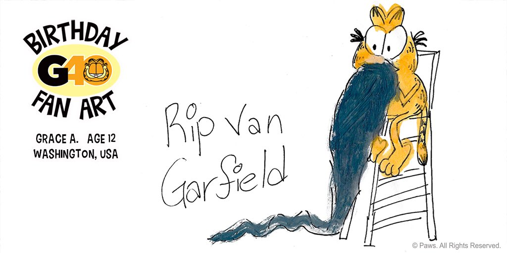 A 20-year nap seems about right to me. Birthday fan art by Grace A., age 12, Washington state. #G40 #GarfieldFanArt #napattack