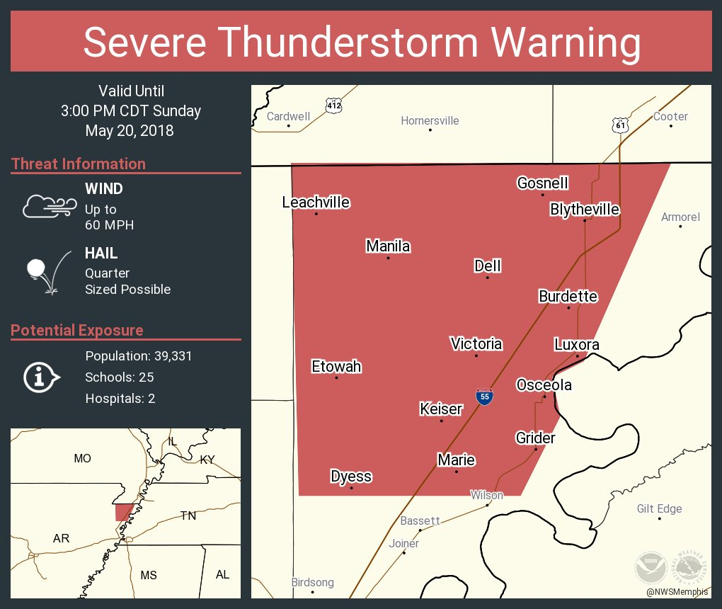 Nws Memphis On Twitter Severe Thunderstorm Warning Including