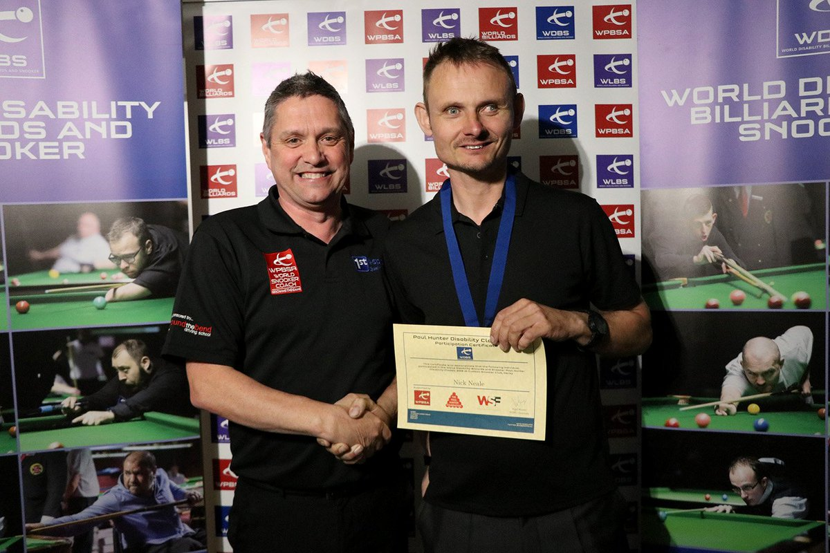 ... Birmingham's Nick Neale who has defeated Mike Gillespie 3-1 to win his  second @WDBSofficial Group 7 title at the Paul Hunter Disability Classic in  Derby ...
