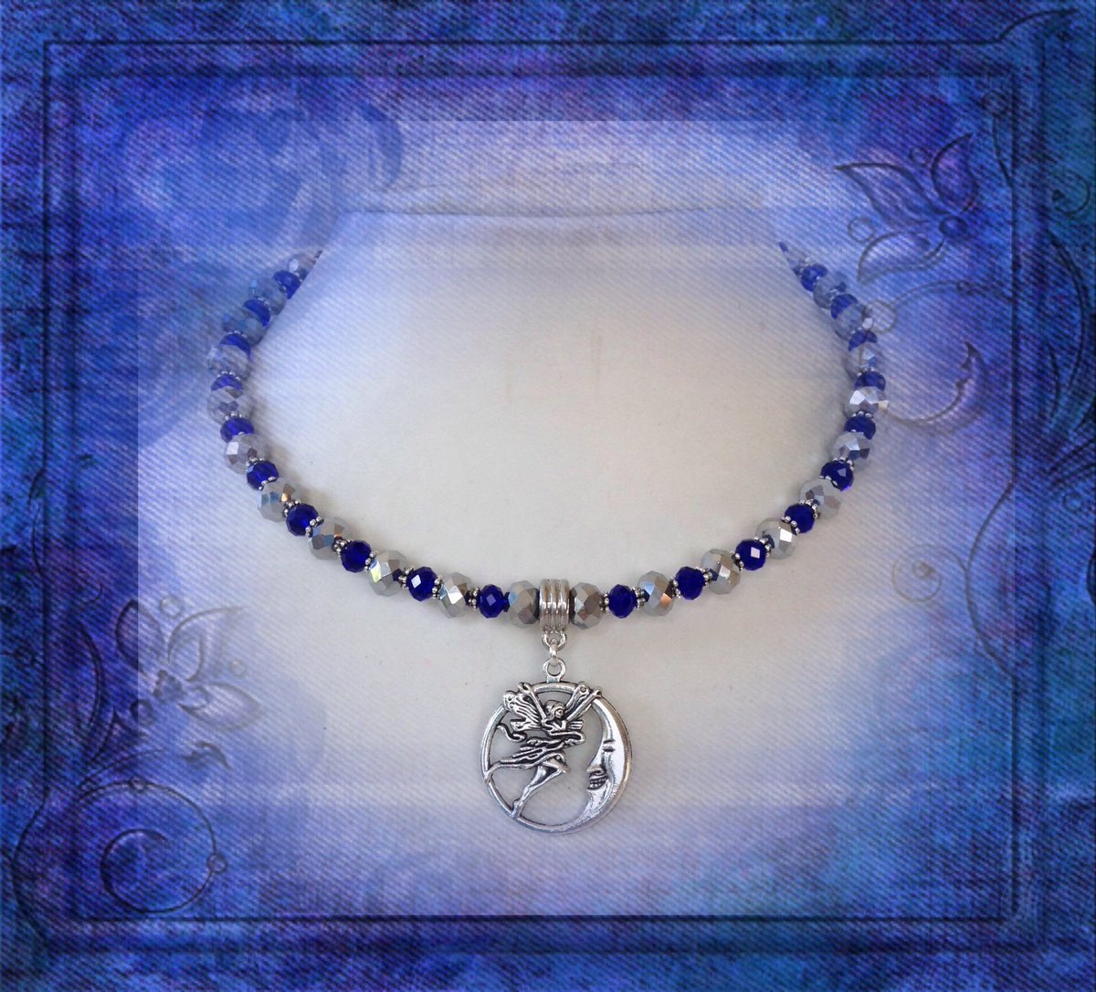 Fairy Moon Wiccan inspired necklace, shorter length, sits on the collar bone, adjustable, extension chain, OOAK, silver, cobalt blue, #pirateswag #ooakjewellery #etsy #facebook #wiccannecklace  https:// etsy.me/2LhO5u7  &nbsp;  <br>http://pic.twitter.com/Gk66SBcBc8