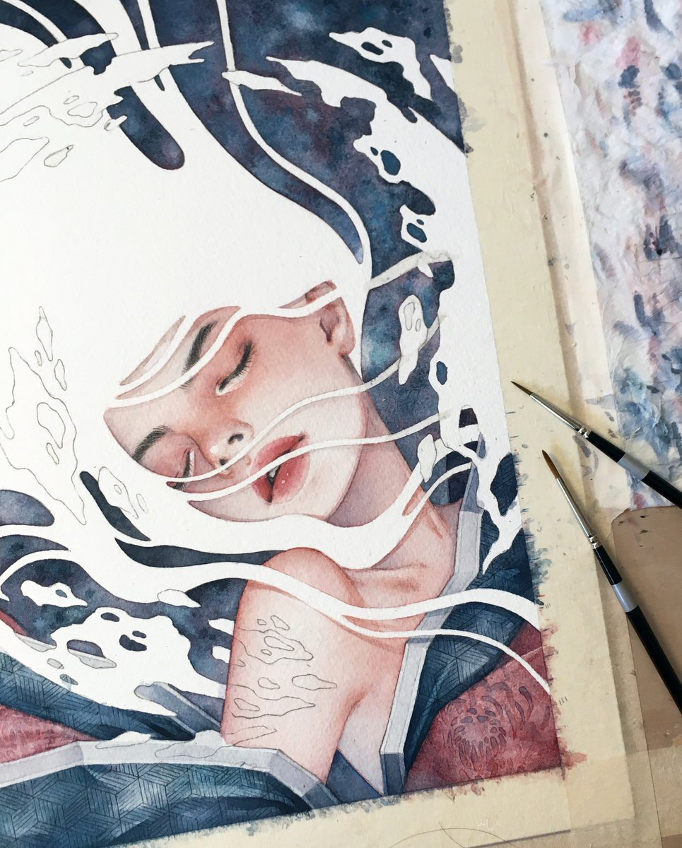 Progress on this little lady for the @ThinkspaceArt @AntlerPDX show, &#39;LA / PDX II&#39; This is the piece where I tackled my fear of masking fluid / liquid frisket!!  #brbchasingdreams<br>http://pic.twitter.com/oda4yXCAef