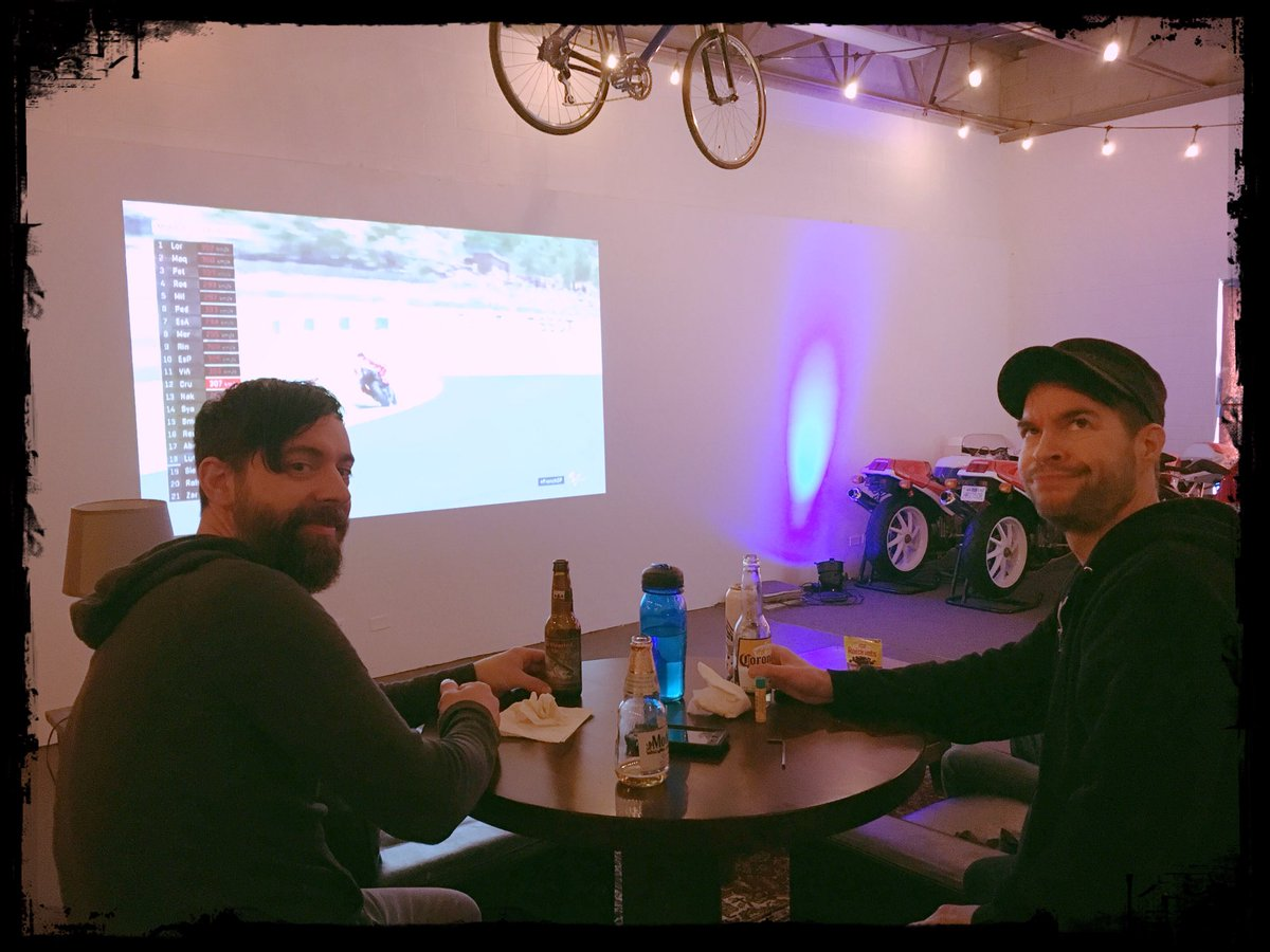 Pete and Dean enjoying today's French MotoGP. Sam is behind the camera, as usual. @MotoGP