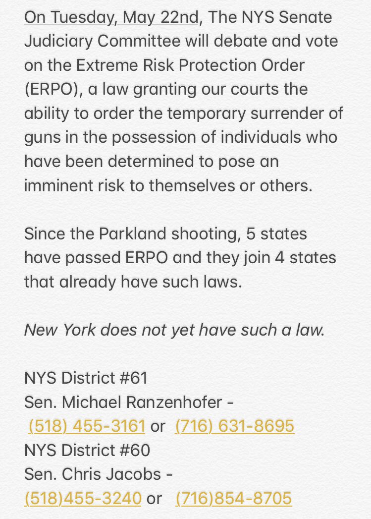 PSA: Students for Action Call-In  On Tuesday, May 22nd, the NYS Senate Judiciary Committee will debate and vote on the Emergency Risk Protection Order (ERPO). Take action and call your Senator's Office to voice your concerns! <br>http://pic.twitter.com/N2fkddKtzR