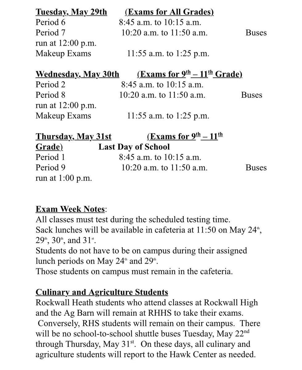Rockwall Heath Hs On Twitter Exams Begin This Week See The Exam Schedule Below For More De S