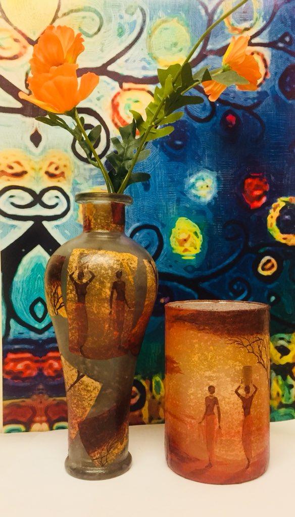 Chantelleys Crafts On Twitter African Inspired Vase And Candle