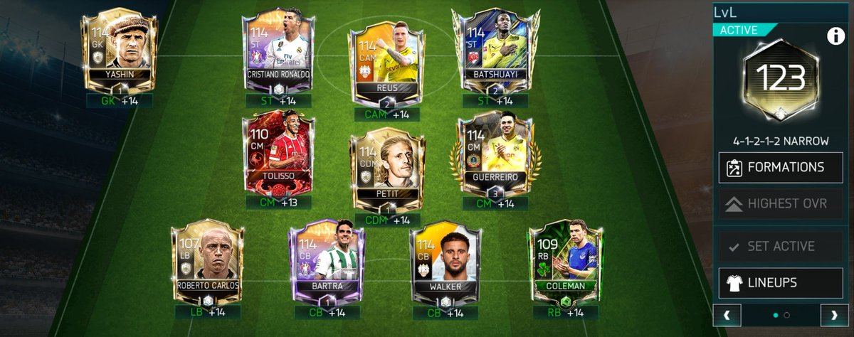 Week 29 - Some Big Upgrades Batshuayi and Reus got in TOTS! Unlocked Batshuayi and burned Aguero into him. Waiting to see how cheap Reus gets and may get him over his IF. 2 more RUs and 2 player OVR upgrades mean a massive +3 OVR increase this week.  #SquadShowoffSunday