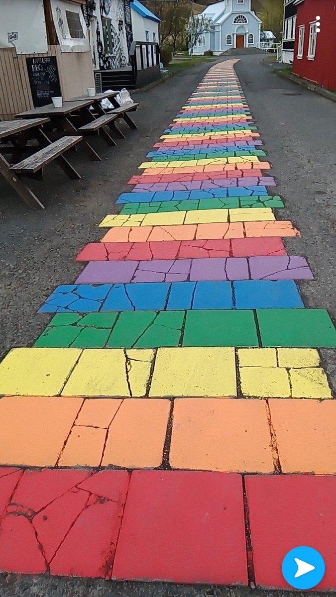 In Seydisfjordur, Iceland I found this rainbow path #pride <br>http://pic.twitter.com/rtkSY0oaYQ