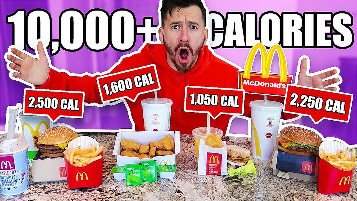 I Only Ate The Highest Calorie Foods at McDonalds for 24 Hours!! (10,000  CALORIE CHALLENGE) https://t.co/4NqTqxZZvu… https://t.co/VXn5BVhFlc""