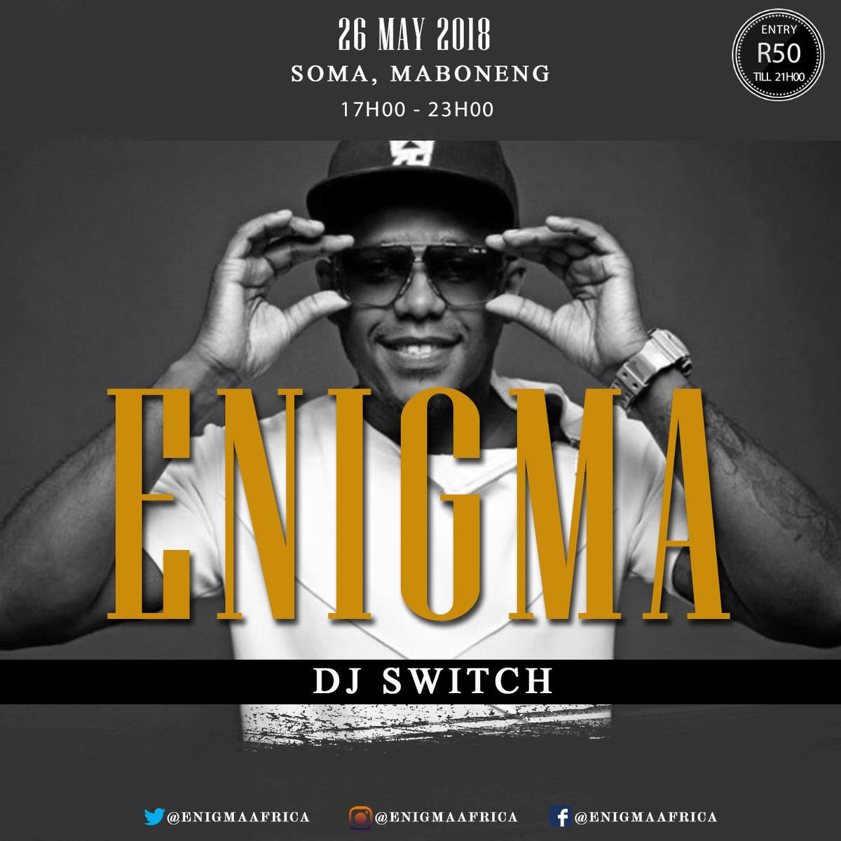 Catch .@DjSwitchSA live at .@ENIGMAAFRICA this Saturday at .@somaartspace in Maboneng   #HipHop #DJ #Party #ENIGMA<br>http://pic.twitter.com/FeW23qXuWq