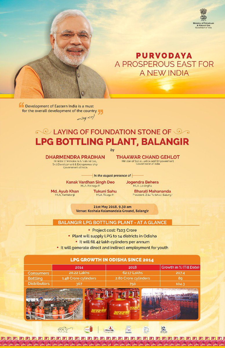 &#39;Purvodaya - A prosperous East for a New India&#39; . Laying of Foundation Stone of @BPCLimited LPG Bottling Plant at Koshala Kalamandala Ground, Balangir, Odisha today at 9.30 am by Hon.Minister MoP&amp;NG and SDE @dpradhanbjp in august presence of Hon. Minister MoSJ&amp;E @TCGEHLOT.<br>http://pic.twitter.com/nC3dcAoyUh