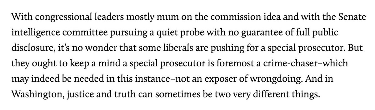 Interesting 2009 item from David Corn on the unreliability of Special Prosecutors. Curious that we dont have a body of literature now on the limitations of a Special Prosecutors ability to provide the public with truthful information motherjones.com/politics/2009/…