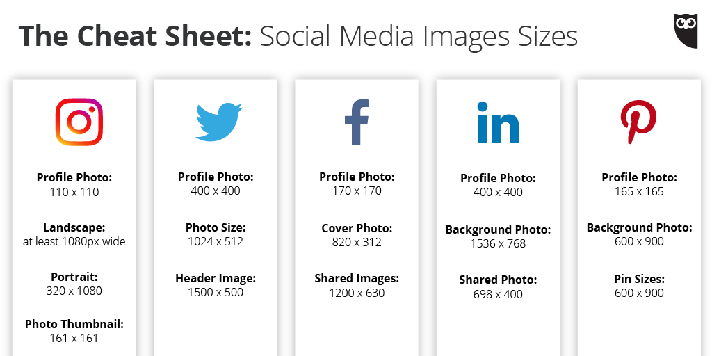 A quick reference guide for social media image sizes, broken down by network: https://t.co/ffydRqi1wk https://t.co/DnBsxxBMyA