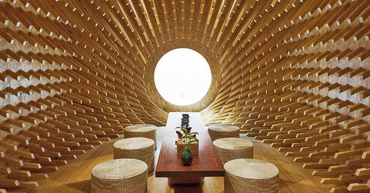 999 wooden sticks convert a rectangular room into an elliptical teahouse, by minax  http:// bit.ly/2I3lx9U  &nbsp;   #architecture #design <br>http://pic.twitter.com/O2je4Jheps
