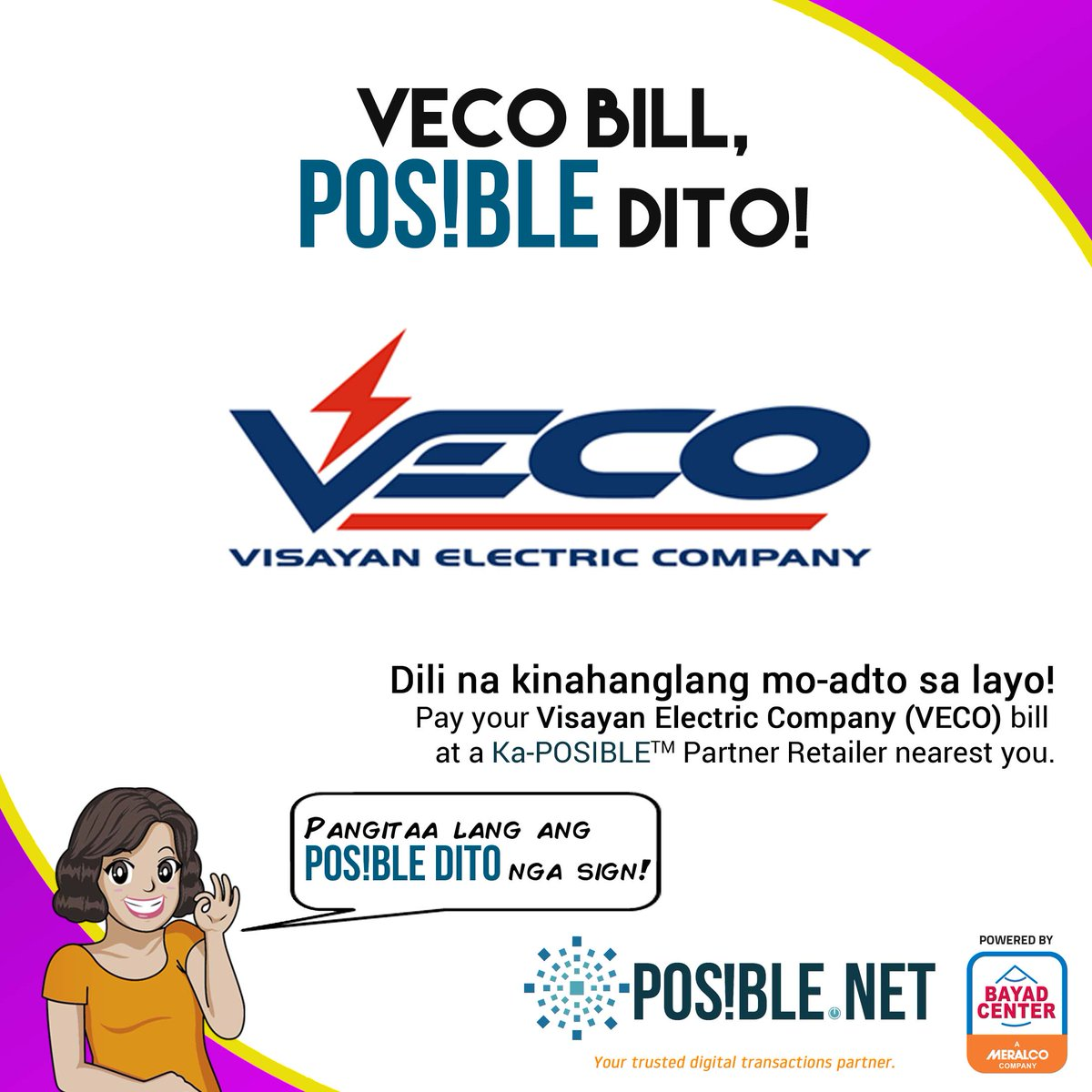 test Twitter Media - Dili na kinahanglang mo-adto sa layo! Pay your @VECO_Cebu bills through https://t.co/BFj9Gq9CB3 at a #KaPOSIBLE partner retailer nearest you. Just look for the #POSIBLEdito sign in your area! Read more about paying your VECO bill here: https://t.co/pyQCkD639S https://t.co/GqRcaRxerR