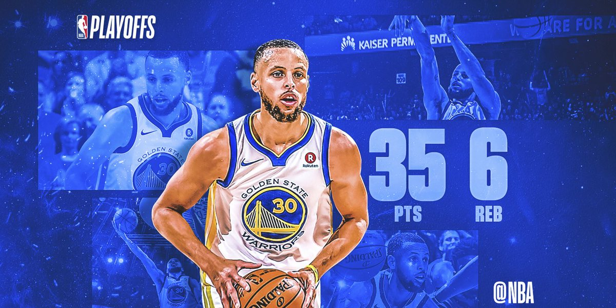 Stephen Curry scored 18 in the 3rd quarter en route to 35 PTS, 6 REB, 5 3PM, helping the @warriors take a 2-1 series lead in the Western Conference Finals! #SAPStatLineOfTheNight