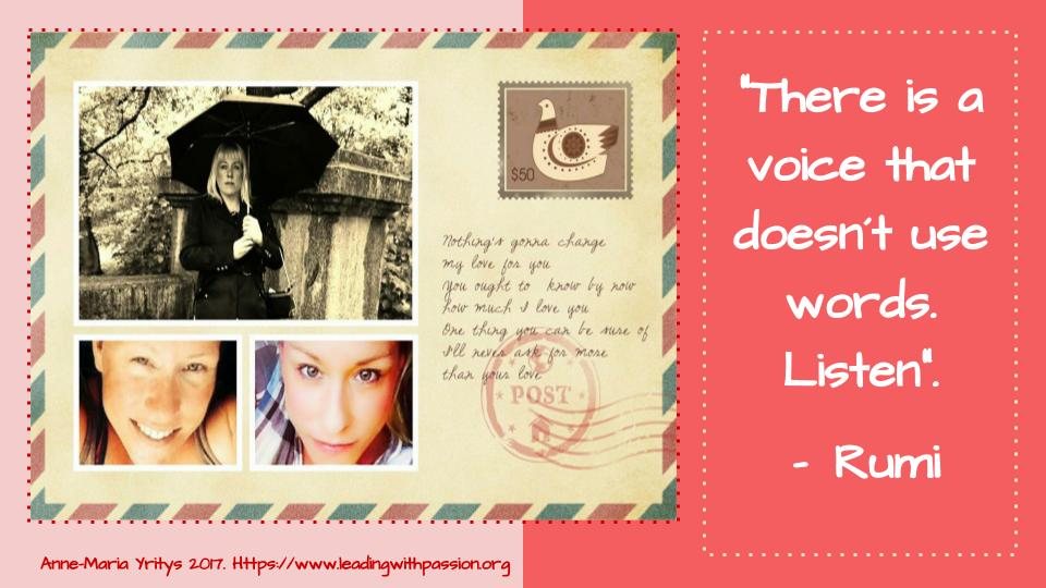 &quot;There is a voice that does not use words. Listen&quot;. ~Rumi  http:// bit.ly/InspirationAMY  &nbsp;   #leadership #strategy  #vision<br>http://pic.twitter.com/DJaz8j3WO6