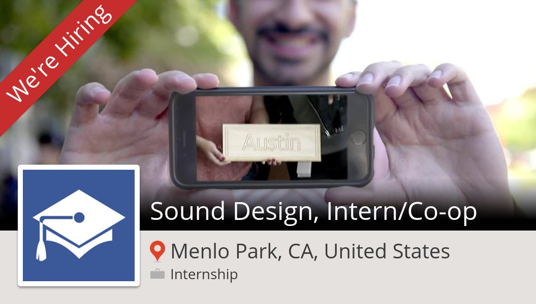 #Facebook is looking for a Sound #Design, #Intern/Co-op in #MenloParkCAUnitedStates, apply now! #internship  https:// workfor.us/fbuniversities /283v &nbsp; … <br>http://pic.twitter.com/5a5RTwue0i