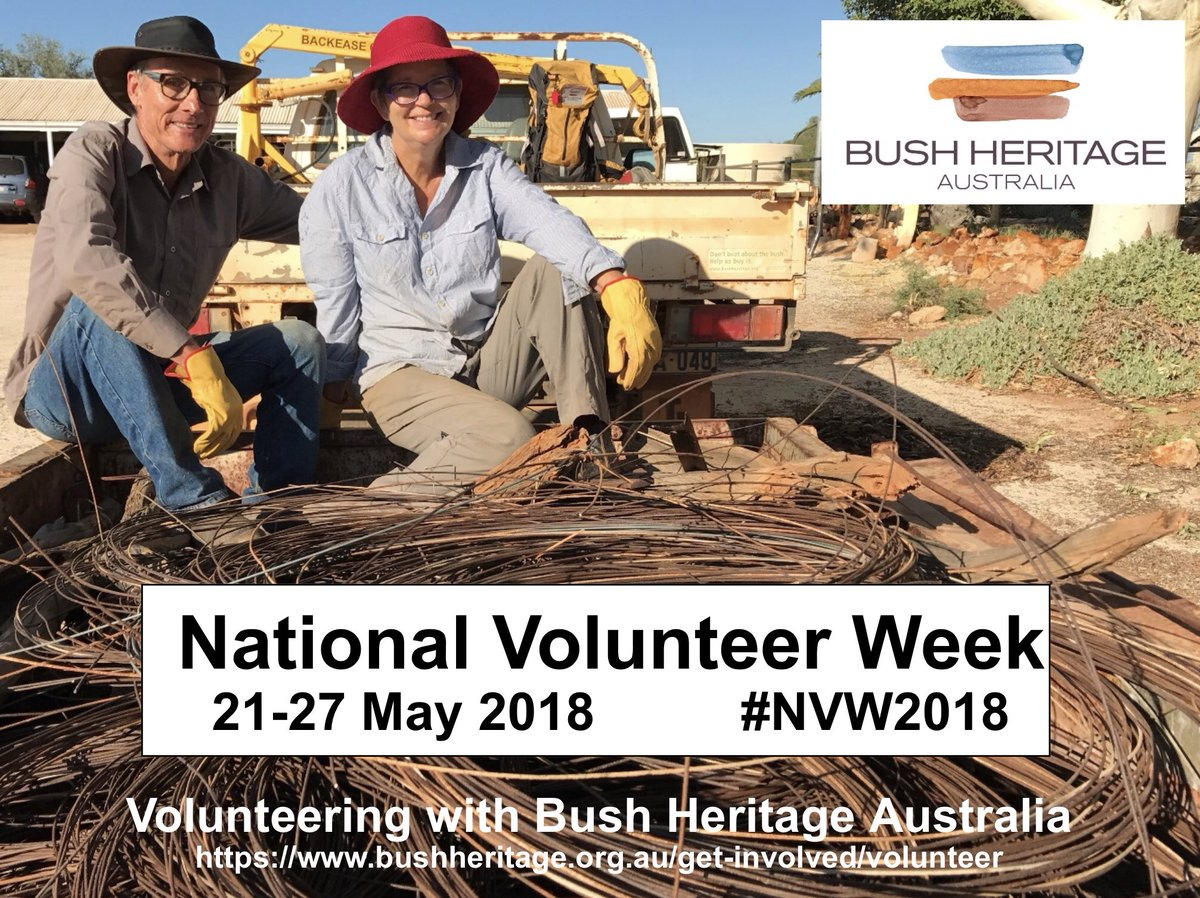We  our volunteers ... like Ian and Annie Mayo ... who (amongst many contributions) have helped pull-out endless kilometres of old fences on our former pastoral stations. A big THANK-YOU to each and every one of our 750 active vollies  #NationalVolunteerWeek #NVW2018<br>http://pic.twitter.com/IHDJpT4Dnh