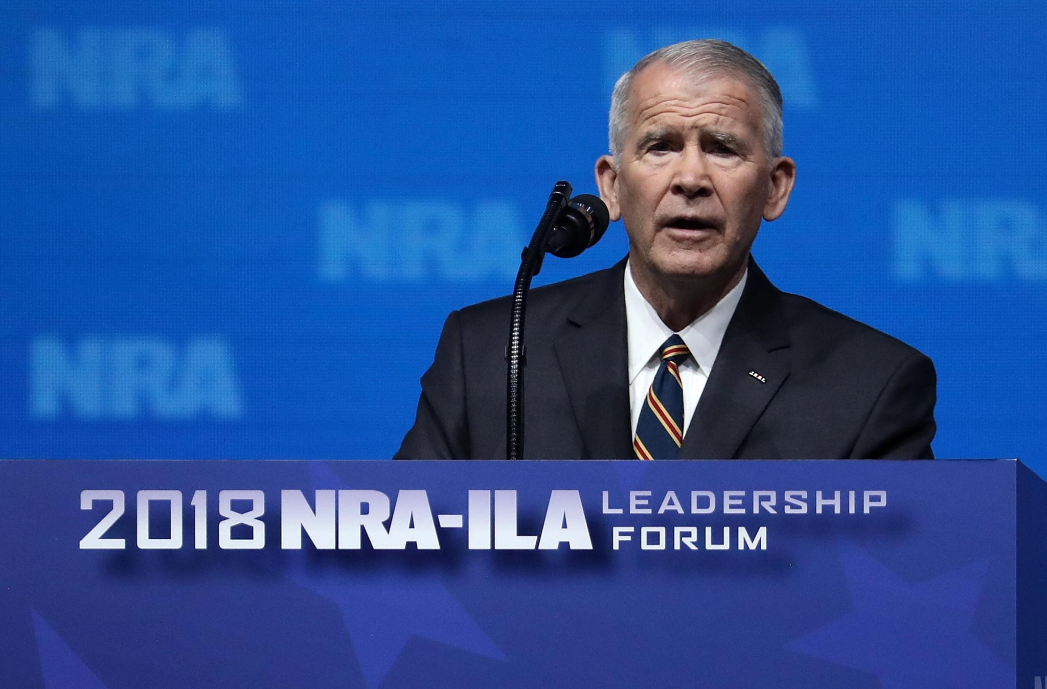 "New NRA President Oliver North blames school shootings on Ritalin, ""culture of violence."" https://t.co/kZWPXCeTtD https://t.co/TAlA51vVIt"