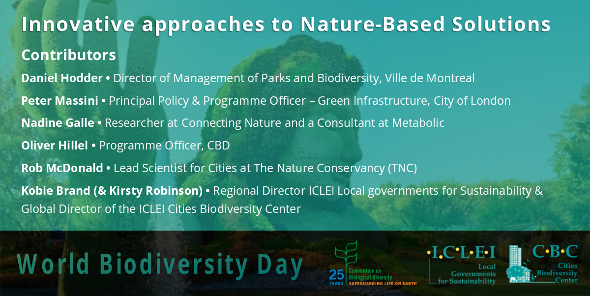 #DYK #IntlBiodiversityDay is tomorrow! 🌳  Learn more about #nature-based solutions & latest innovations in the field from experts: D Hodder, P Massini, N Galle (@MetabolicHQ), O Hillel (@UNBiodiversity), R McDonald (@nature_org), K Brand (@ICLEI) here:  https://t.co/gm39AVGARG