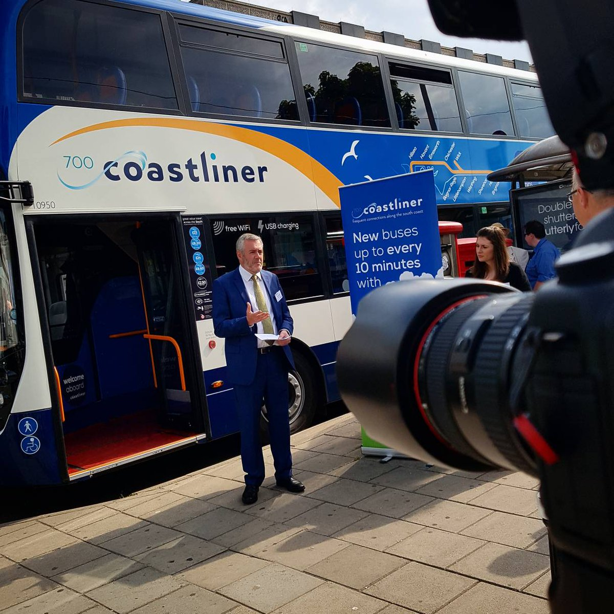 We Are Currently In Brighton City Centre Launching Our Latest Fleet Of 30 Brand New Buses For Coastliner 700 Featuring Free Wifi USB