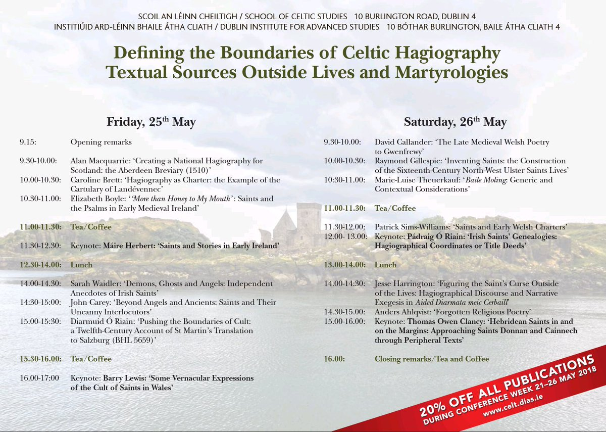 "test Twitter Media - Defining the Boundaries of Celtic Hagiography conference ""Textual Sources Outside Lives and Martyrologies"" takes place this Friday 25th & Saturday 26th May 2018 @DIAS_Dublin  20% off all publications during the conference.  https://t.co/AhPTOuA89N https://t.co/ldsRcz1g0x"