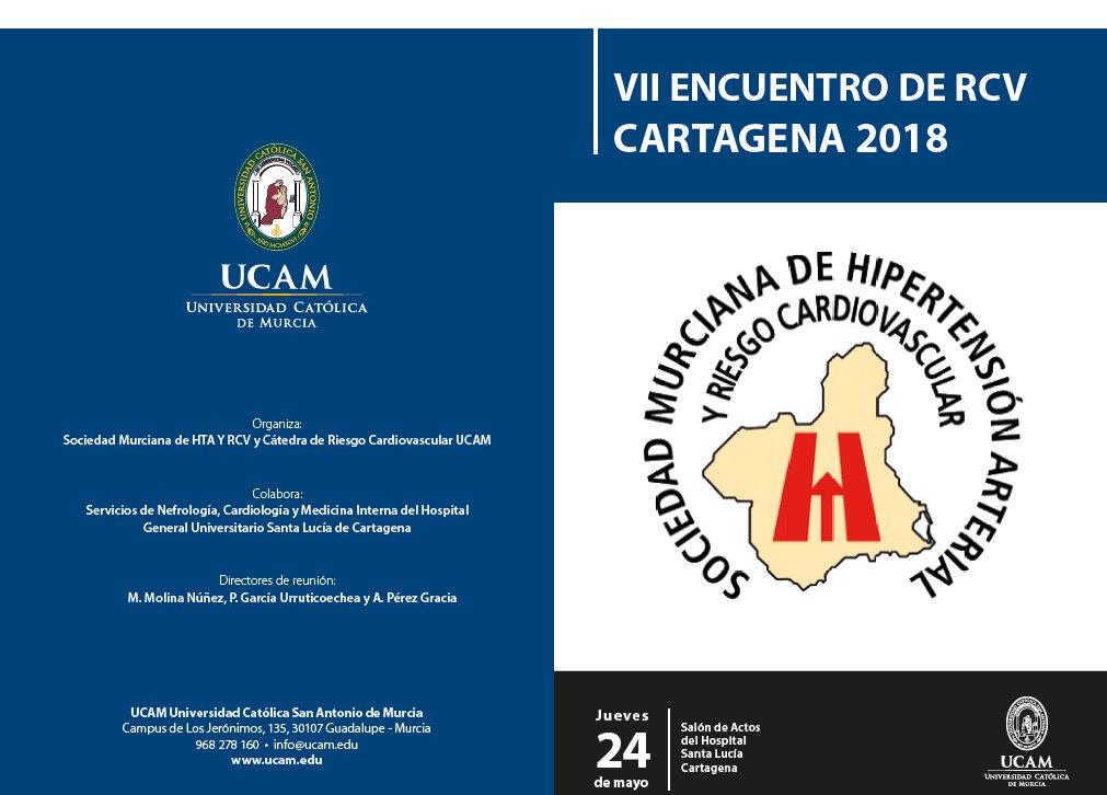 El #HospitalSantaLucia acoge este jueves 24 de mayo el VII Encuentro de Riesgo Cardiovascular organizado por la Sociedad Murciana de Hipertensión y Riesgo Cardiovascular @Area2Cartagena @Murciasalud @UCAM_Medicina