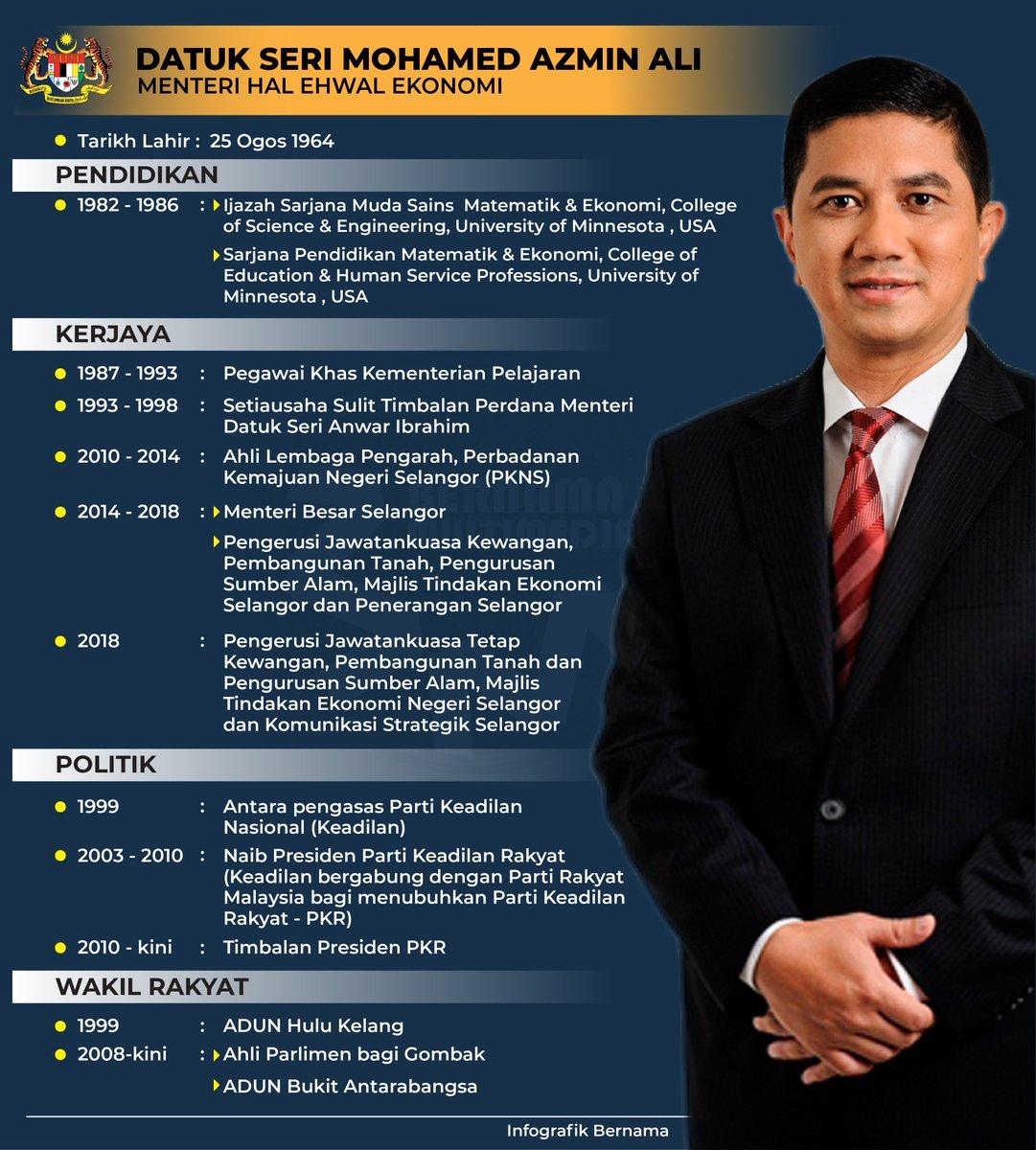 Bernama On Twitter Infografik Profil Menteri Hal Ehwal Ekonomi Azminali