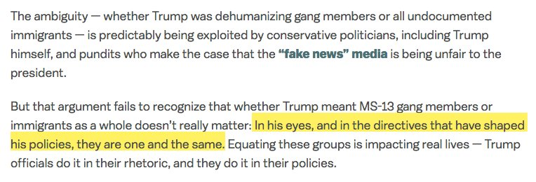 The animals comments are nothing new: Trump has consistently dehumanized immigrants as a group, comparing all of us to rapists and gang members from the earliest days of his campaign. vox.com/first-person/2…