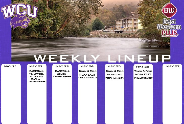WCU Athletics Weekly Lineup (thru 5-27-18)
