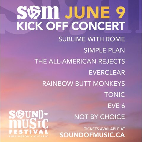 Tickets are available NOW for our #SOM2018 kick off show with @SublimeWithRome @simpleplan @therejects @EverclearBand @Rainbowbuttmon @tonicband @Eve6 & @NotByChoiceMUS! Do you have your tickets yet? Get them NOW at http://smarturl.it/SOM2018 before they run out!