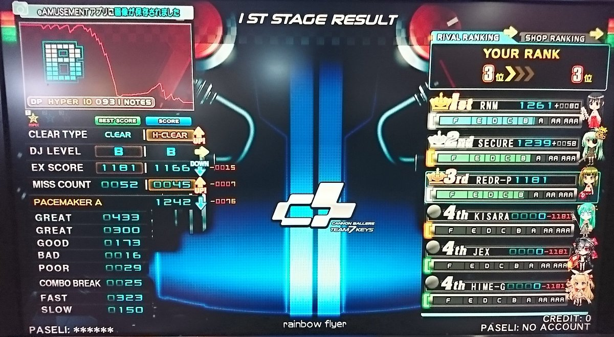 ☆10 rainbow flyer (DPH) 初ハード (OP:FLIP+左鏡)☆10 Blame (DPA) 初ハー