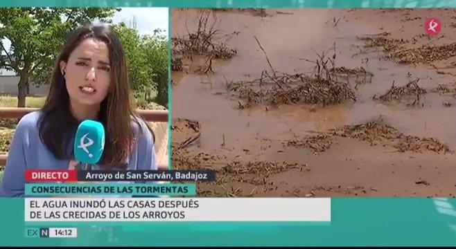 Cultivos arrasados y viviendas alagadas por el agua. Hoy, Vegas Altas, Tierra de Barros o Campiña Sur, toca hacer balance de daños por las tormentas. #EXN https://t.co/URXS5JwFU6