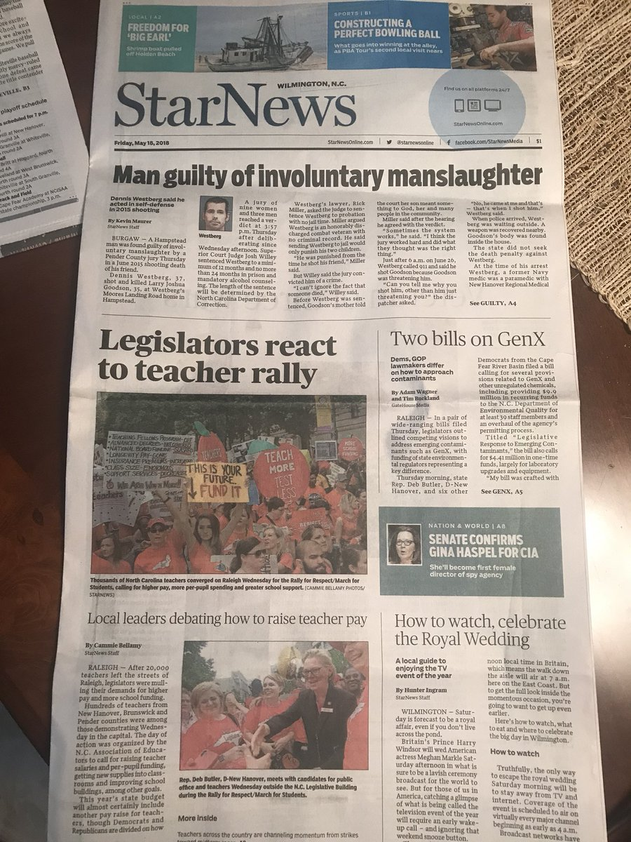 Look who was on the front page of the Wilmington Star News on Friday! #May16 #red4ed #ItsPersonal #PublicSchools #juliefornc36<br>http://pic.twitter.com/ZG2r0uyn2B