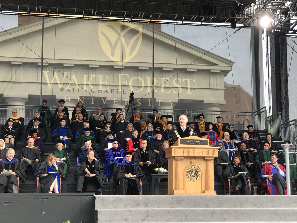 "In @PresidentHatch's remarks to graduates, entitled ""Both And,"" he says understanding those we don't agree with will help us listen better, persuade more effectively and restore a common vision together. #WFUGrad"