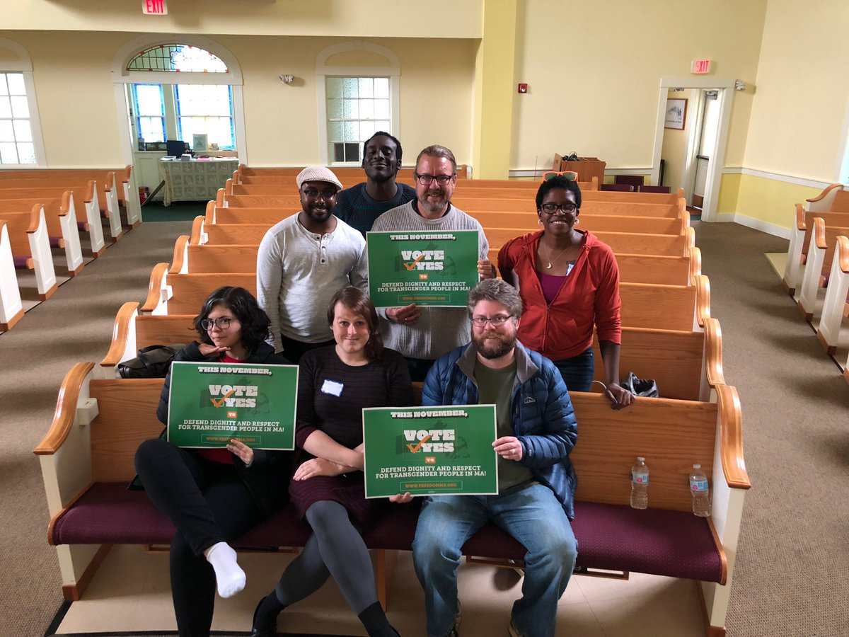 This crew spend Saturday in the #Worcester area, knocking on doors and having face-to-face conversations with voters about the importance of voting YES this November to uphold #TransLawMA!