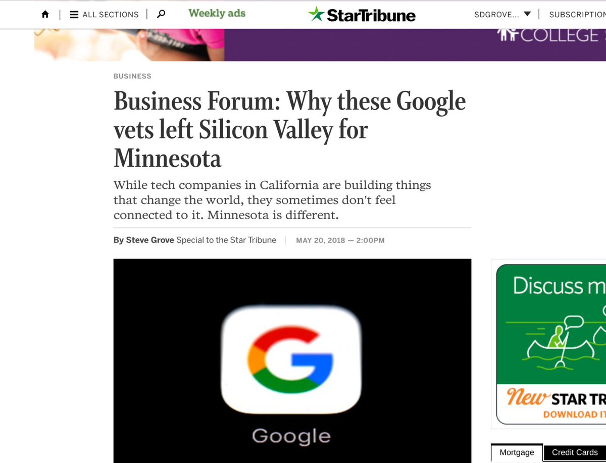 Steve Grove On Twitter Wrote This Piece In Today S Startribune About Why Marygrove And I Left Silicon Valley For Minnesota Https T Co Fng937uask