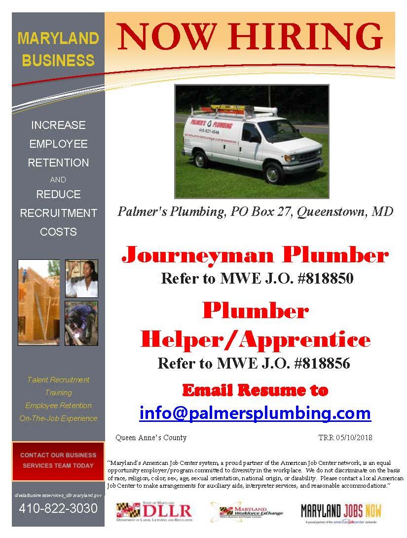 Plumbing In Queenstown Is Now HIRING A Journeyman Plumber 818850 And Plumbers Helper Apprentice 818856 Learn More On The Maryland Workforce