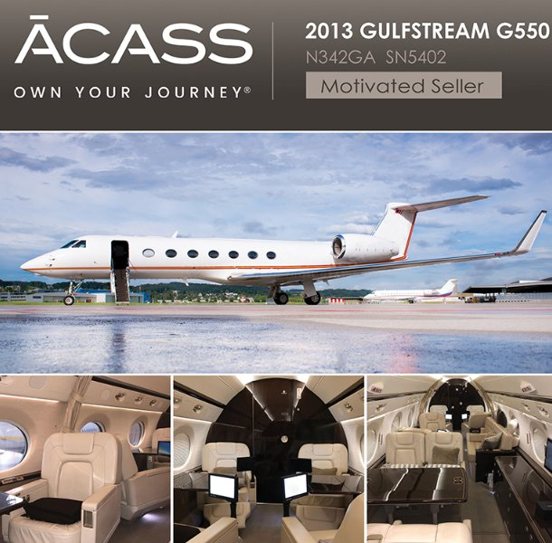 2013 #Gulfstream #G550 now available for sale through ACASS Engines on RRCC - Synthetic Vision-Primary Flight Display -  CPDLC - ADS-B Out See more at  http:// ow.ly/UPTx30k6nmr  &nbsp;    #bizjet #bizav #aircraftforsale #privateaviation #privatejet #jetforsale #businessaviation<br>http://pic.twitter.com/Nt14yWZuEi