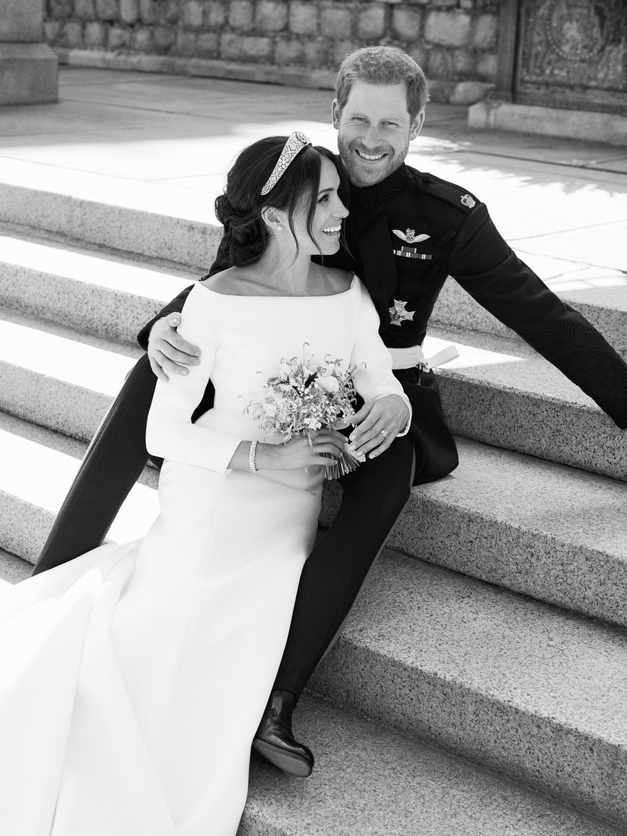 The Duke and Duchess of Sussex were also photographed on the East Terrace, Windsor Castle. Their Royal Highnesses would like to thank everyone for their kind wishes and sharing in their special day #RoyalWedding