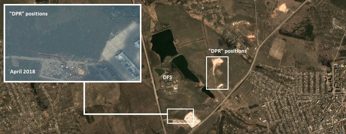 Detail of military positions adjacent to Donetsk Filtration Station in eastern #Ukraine