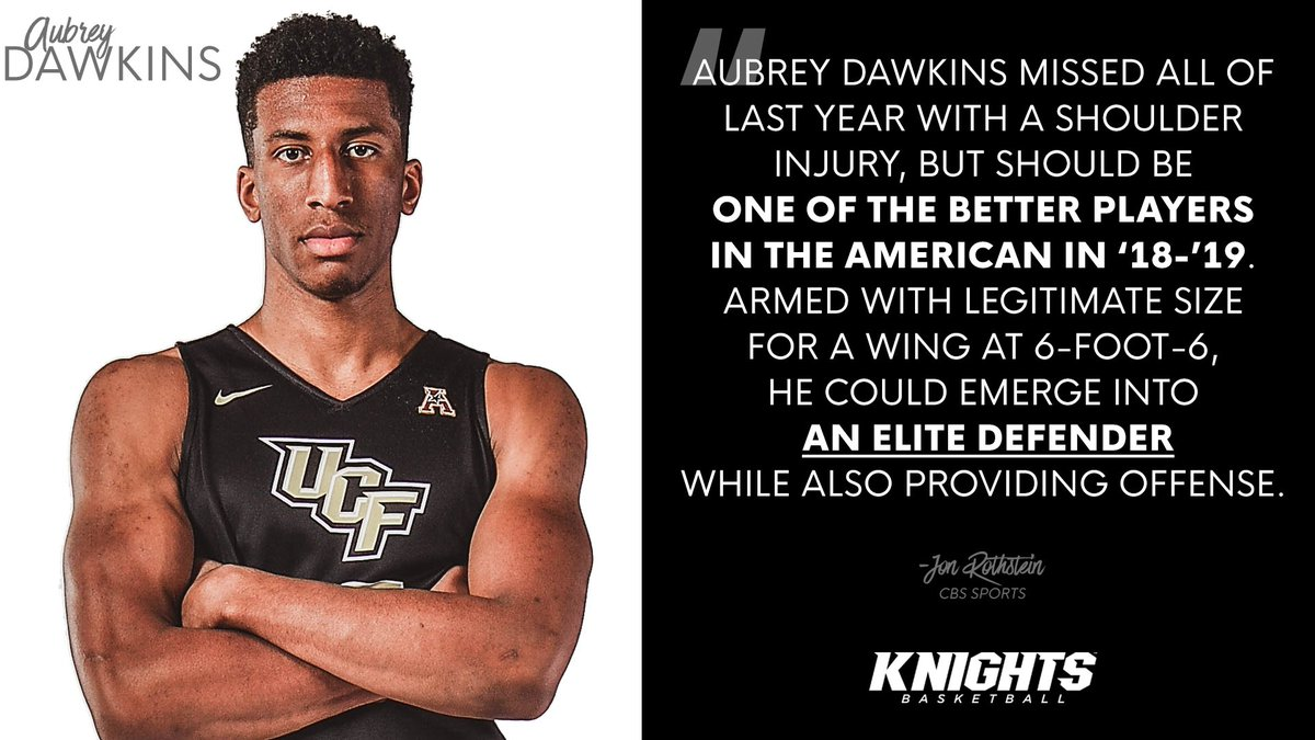 Legitimate size ✔️ Elite defender ✔️ Provide offense ✔️ Aubrey Dawkins is one of the 10 players returning from injury to watch in 2018-19. #ChargeOn 📰 ucfknights.co/2IzIVfD (@JonRothstein)