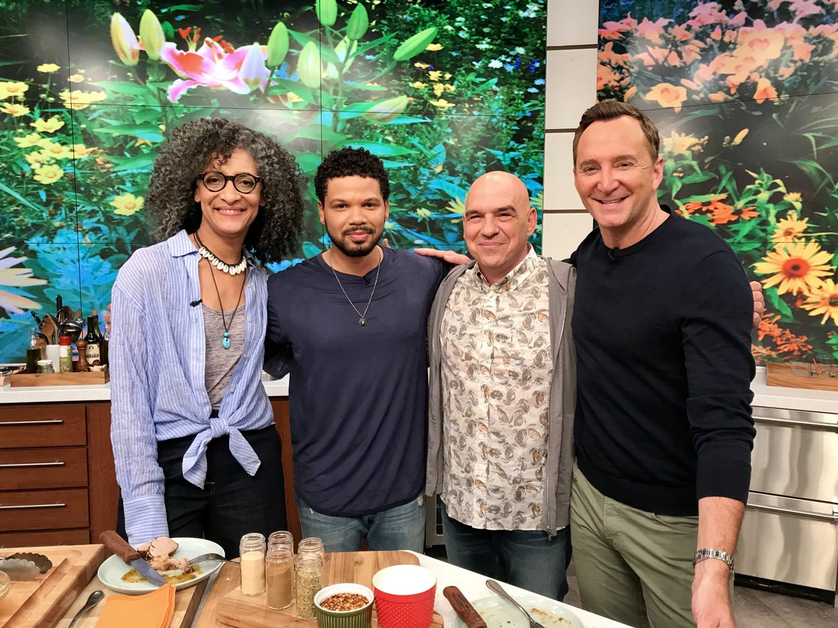 We've got the talented @JAKESMOLLETT today in the kitchen cooking up some tasty bites with @carlahall! Plus one deserving military family gets the surprise of a lifetime! #TheChew